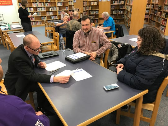 About a dozen people came to a meeting March 13 at Adams Upper Elementary to receive information and provide feedback to the Wayne-Westland Community School District on closing an upper elementary or middle school next year.