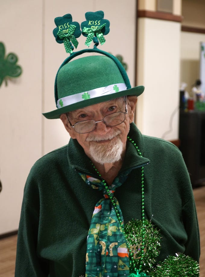 Donald DeGeorge donned a lot of green and Irish decor before heading out to the Northville Community Center's St. Patrick's Day luncheon on March 14.