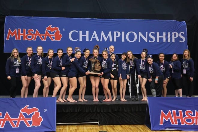 The Farmington United gymnastics team won its second straight state championship in March 2019.