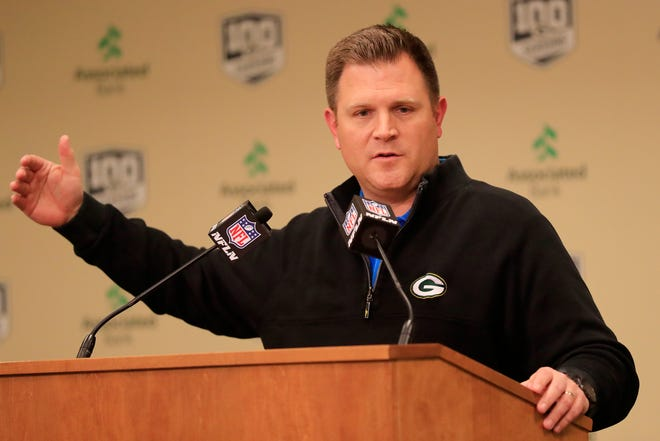 Green Bay Packers general manager Brian Gutekunst speaks March 14, 2019, at a press conference at Lambeau Field in Green Bay.
