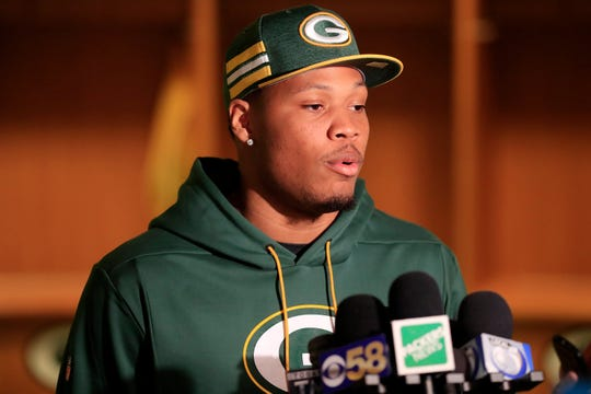 Green Bay Packers edge rusher Preston Smith talks to members of the media at Lambeau Field on Thursday, March 14, 2019 in Green Bay, Wis.