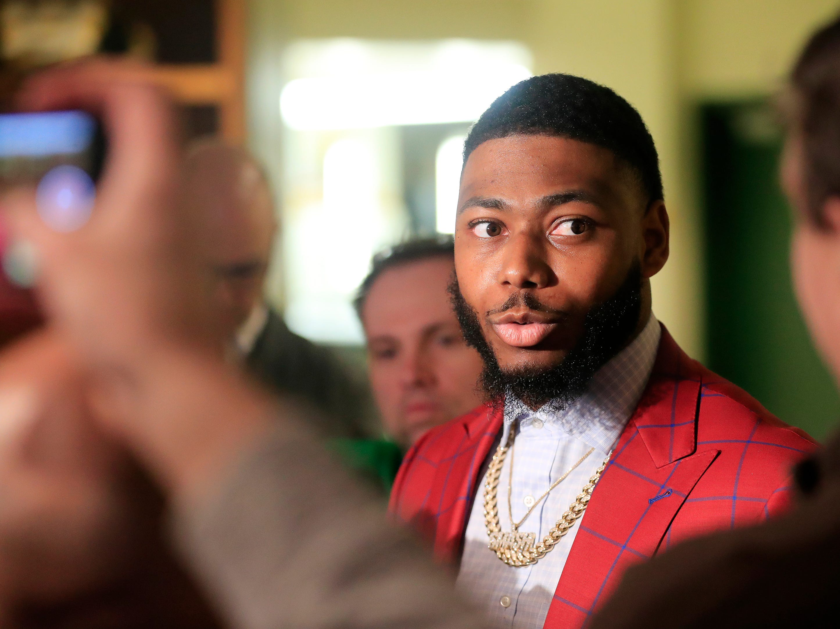 Green Bay Packers safety Adrian Amos talks to members of the media at Lambeau Field on Thursday, March 14, 2019 in Green Bay, Wis.