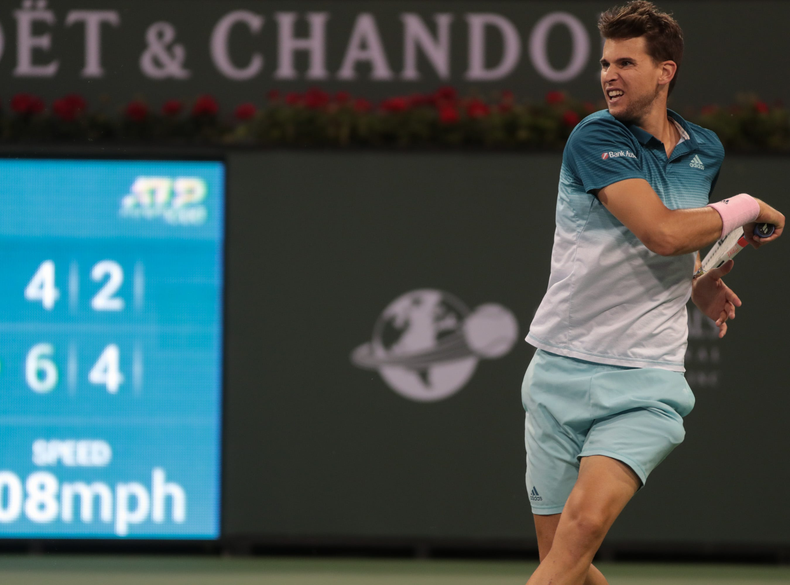 Dominic Thiem hits a forehand to Ivo Karlovic at the BNP Paribas Open in Indian Wells, Calif., March 13, 2019.