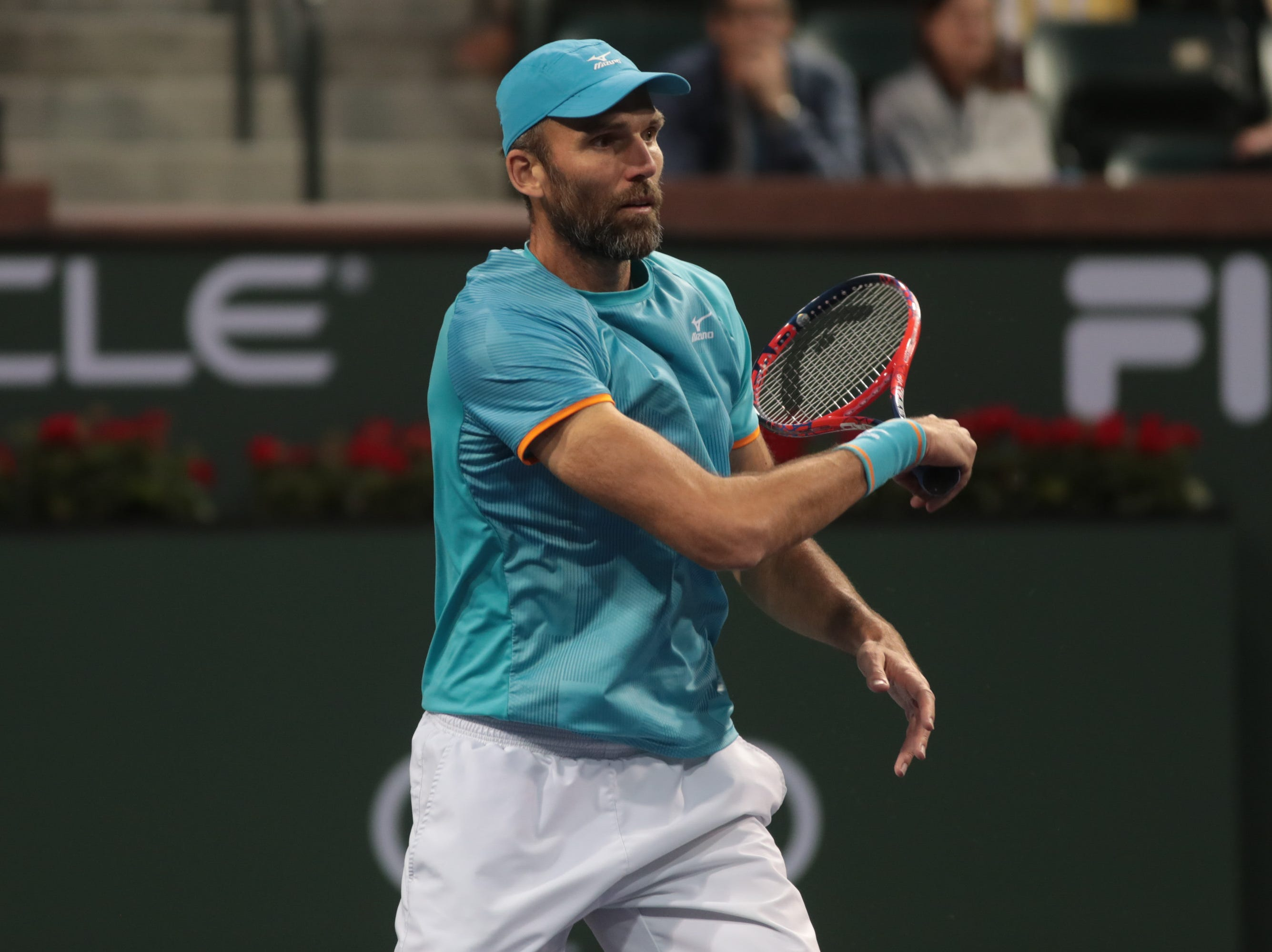 Ivo Karlovic hits a plays Dominic Thiem in the Round of 16 at the BNP Paribas Open in Indian Wells, Calif., March 13, 2019.