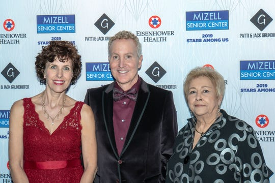Desert Health Care District Board of Directors President Jennifer Wortham PhD., accepted the Galaxy Award; Palm Springs City Council Member and Event co-chair Geoff Kors; and retiring Mizell Senior Center Executive Director Ginny Foat, 2019 Shining Star Award honoree.