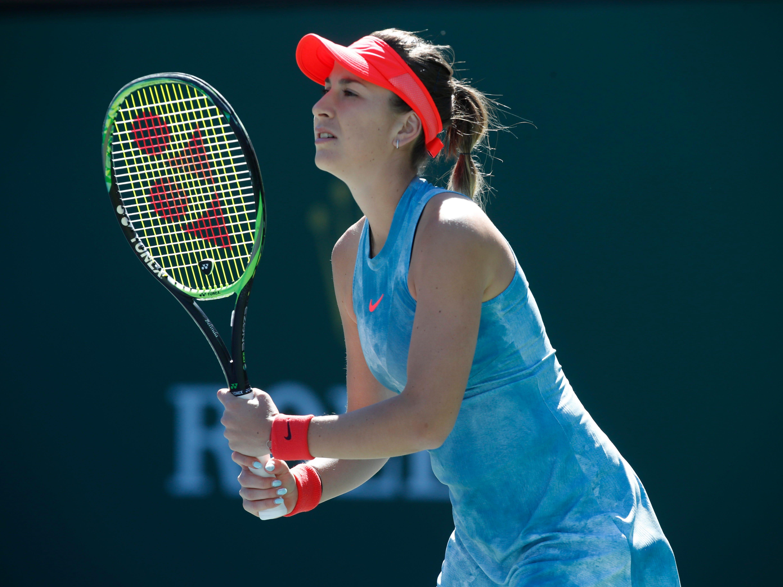 Belinda Bencic awaits a return from Karolina Pliskova on Stadium 1 at the 2019 BNP Paribas Open at Indian Wells Tennis Garden on March 12, 2019. Bencic won 6-3, 4-6, 6-3.