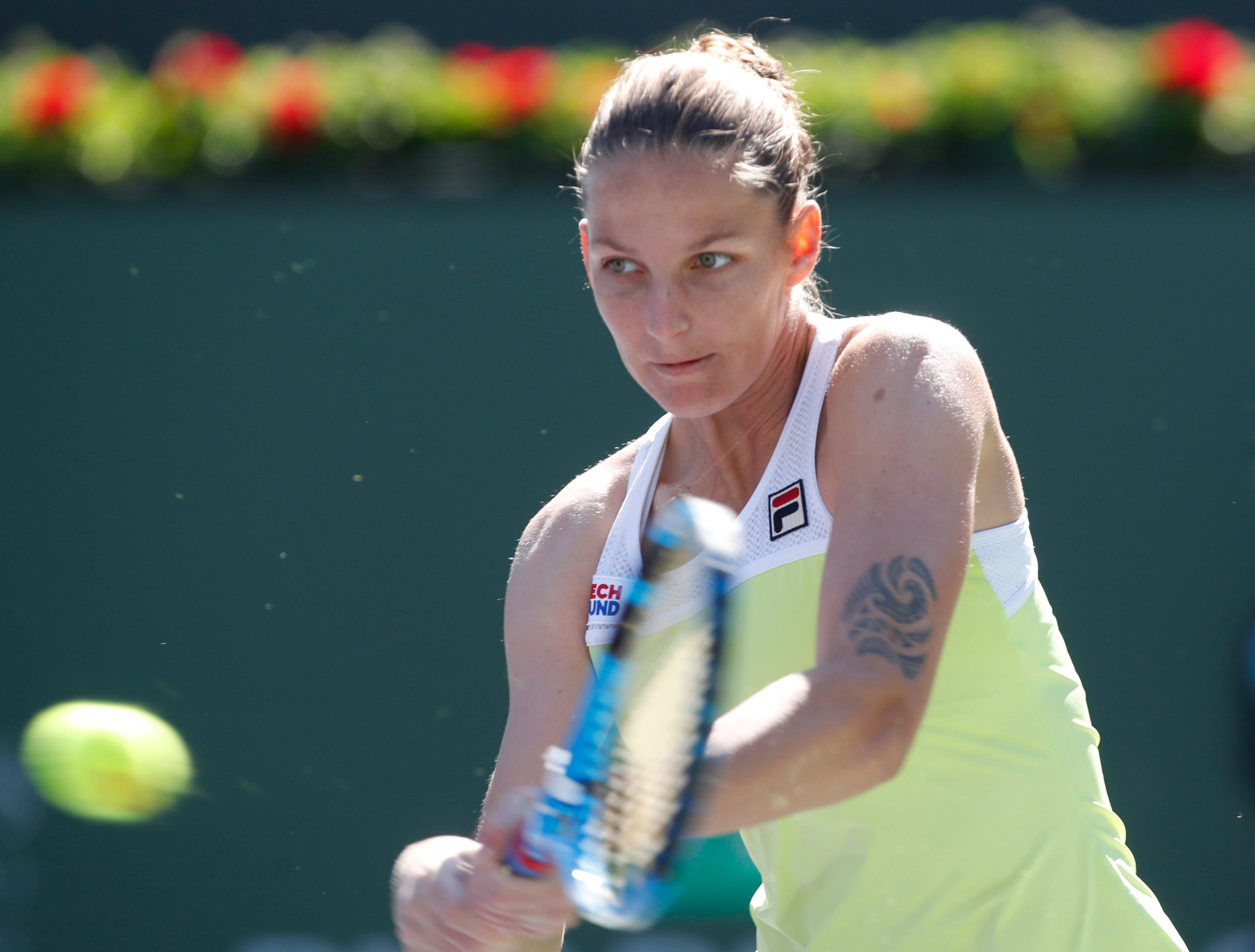Karolina Pliskova during her game against  Belinda Bencic on Stadium 1 at the 2019 BNP Paribas Open at Indian Wells Tennis Garden on March 12, 2019. Bencic won 6-3, 4-6, 6-3.