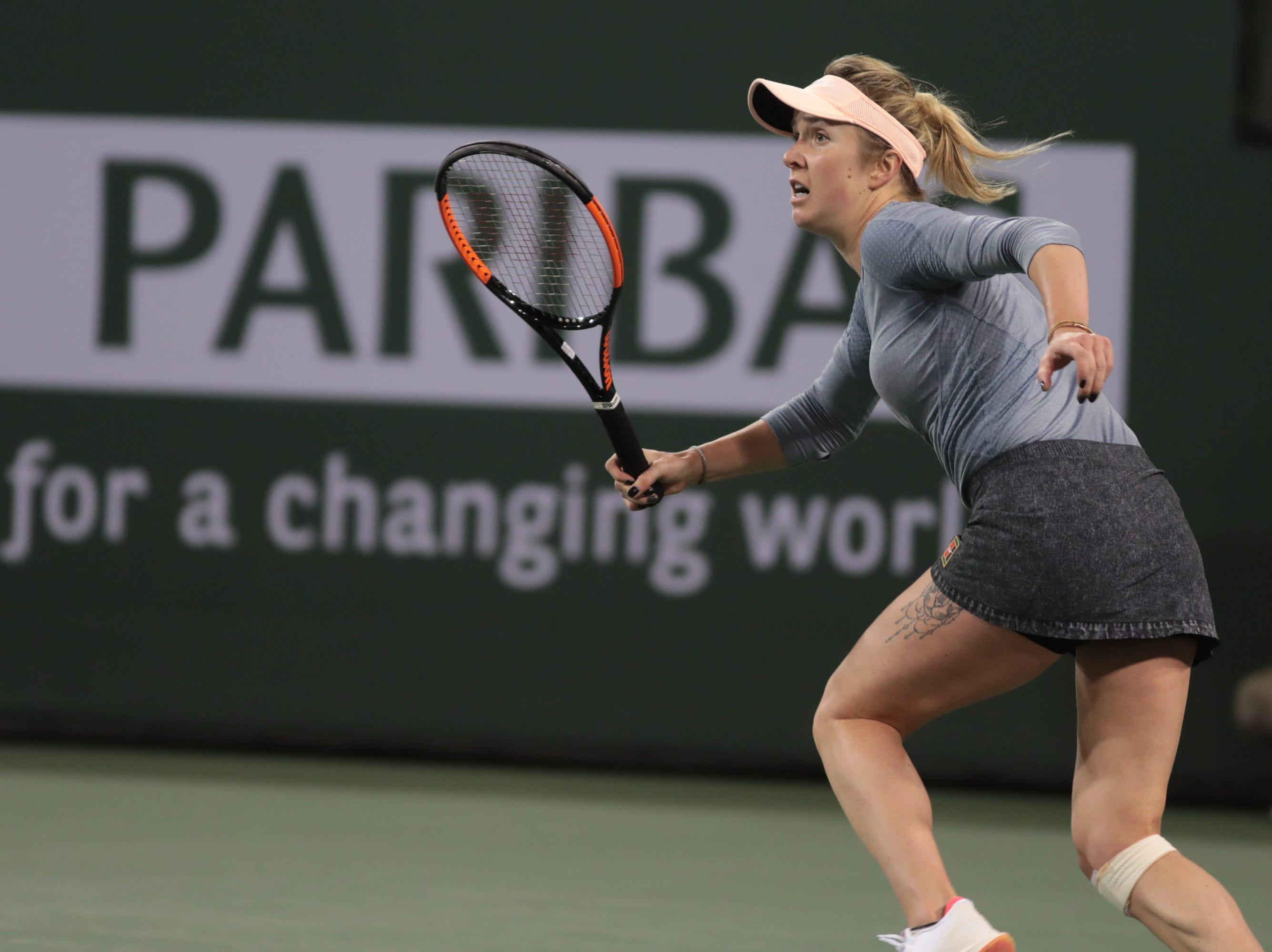 Elina Svitolina runs down a shot from Marketa Vondrousova in her quarterfinal match at the BNP Paribas Open in Indian Wells, Calif., March 13, 2019.