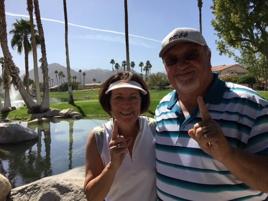 Nancy and Brian Bloedorn each aced a hole during a recent round for the couple at Palm Royale Country Club in La Quinta.