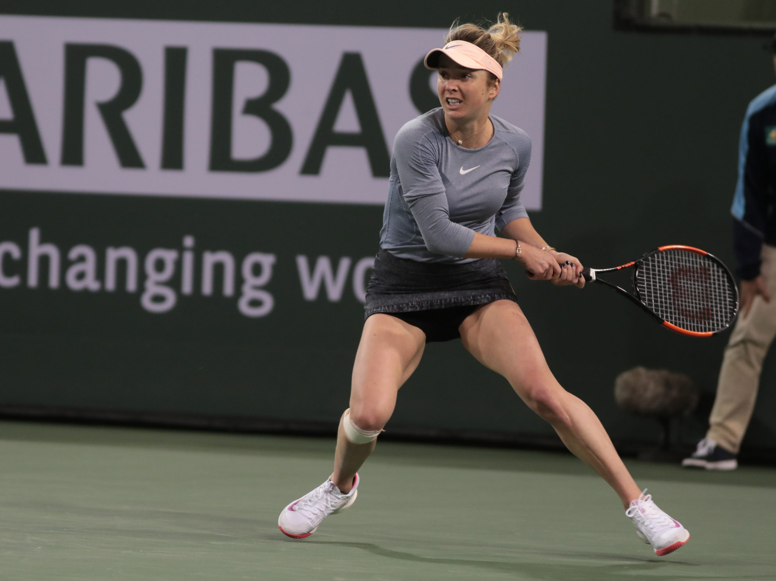 Elina Svitolina moves to a shot from Marketa Vondrousova at the BNP Paribas Open in Indian Wells, Calif., March 13, 2019.