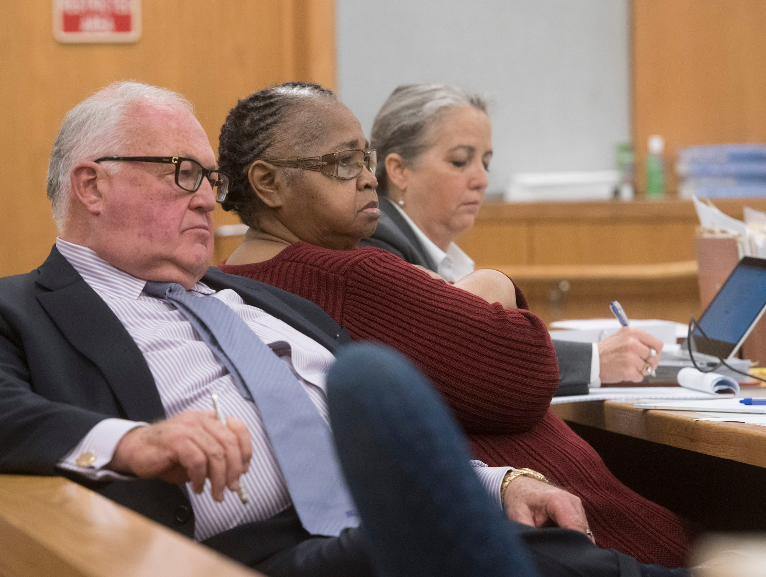 Veronica Green Posey, 66, and her attorney, Michael J. Griffith, listen to testimony during Posey's trial on Thursday, March 14, 2019. Posey is on trial for the death of her 9-year-old cousin Dericka Lindsay.