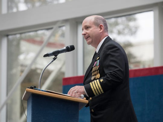 New base commander Capt. Timothy Kinsella, Jr. speaks during the change of command ceremony at the National Naval Aviation Museum at Naval Air Station Pensacola on Thursday, March 14, 2019.