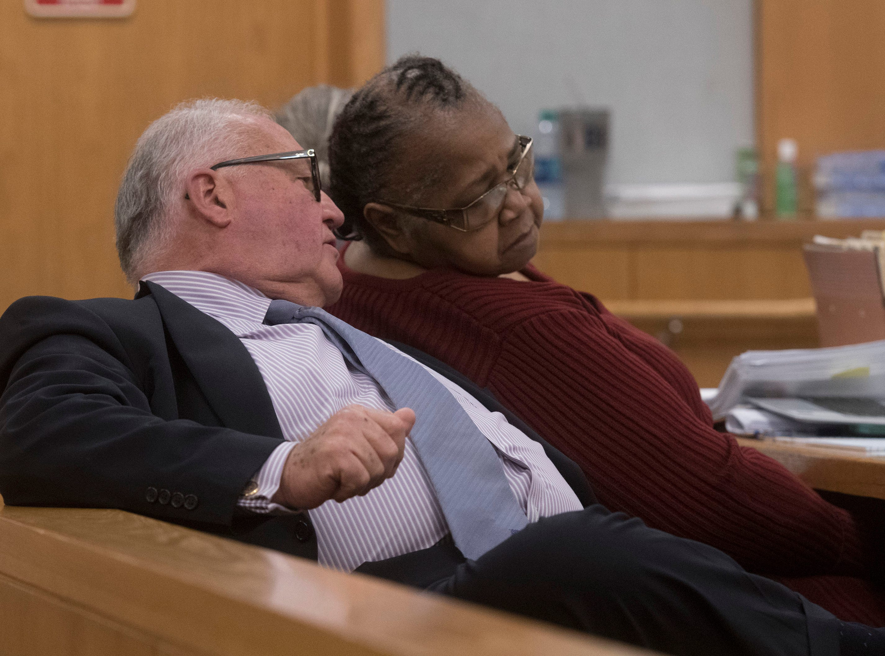 Veronica Green Posey, 66, consults with her attorney, Michael J. Griffith, during court on Thursday, March 14, 2019. Posey is on trial for the death of her 9-year-old cousin Dericka Lindsay.