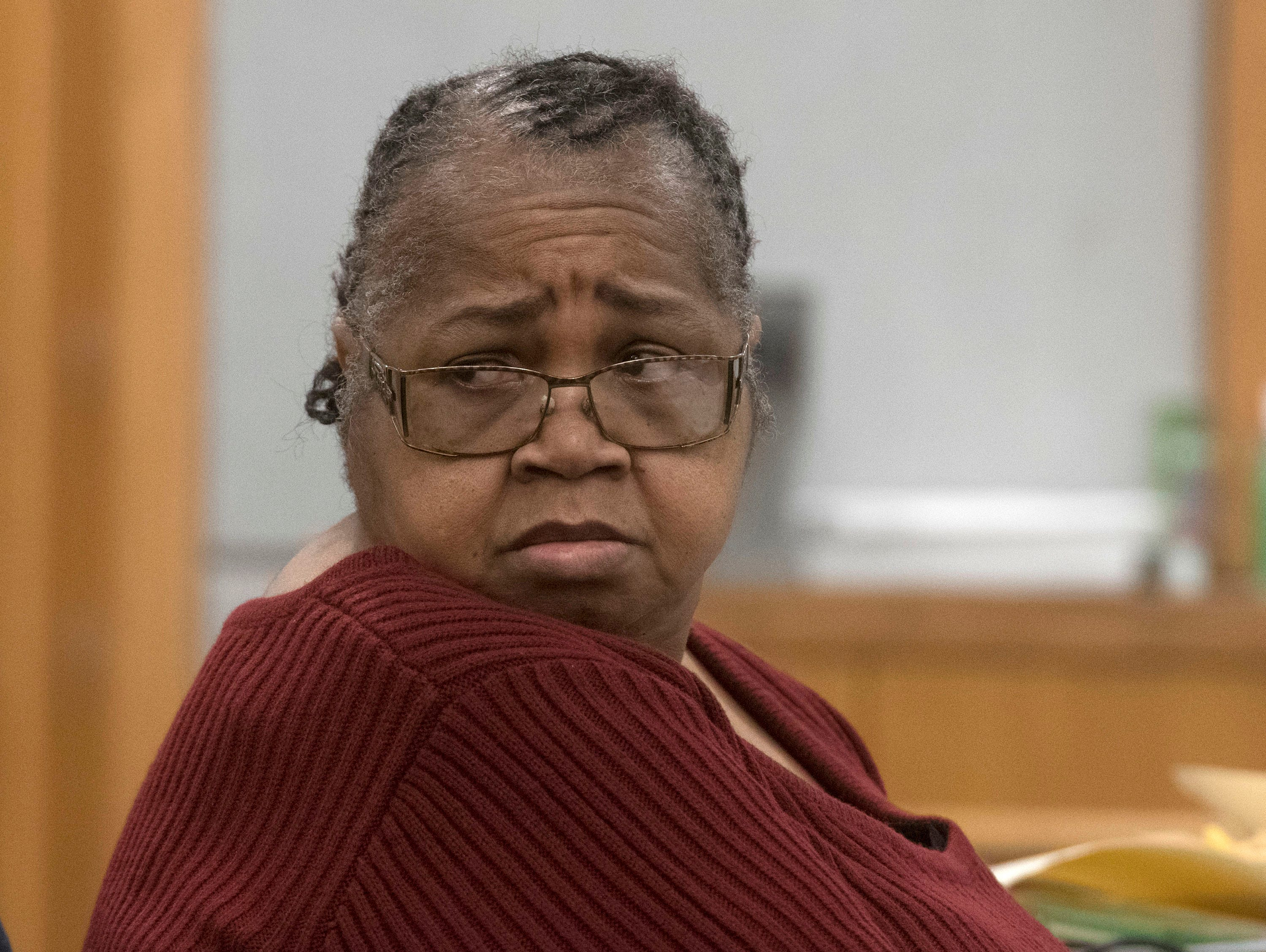 Veronica Green Posey, 66, sits in the courtroom of Circuit Judge Jan Shackelford on Thursday, March 14, 2019, waiting for her trial to begin. Posey is on trial for the death of her 9-year-old cousin Dericka Lindsay.
