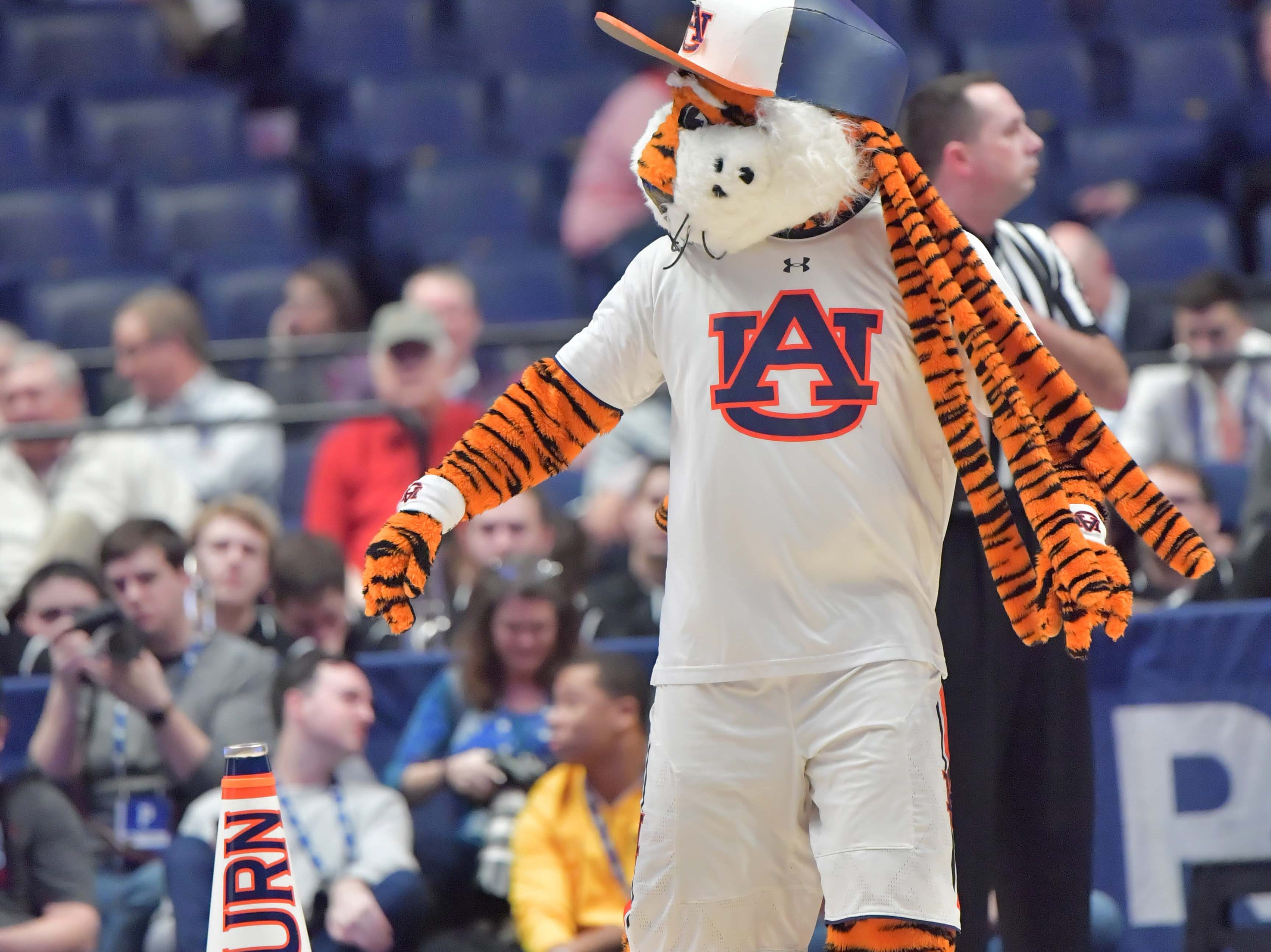 Mar 14, 2019; Nashville, TN, USA; Auburn Tigers mascot entertains fans in the SEC conference tournament Auburn Tigers mascot entertains fans at Bridgestone Arena. Mandatory Credit: Jim Brown-USA TODAY Sports