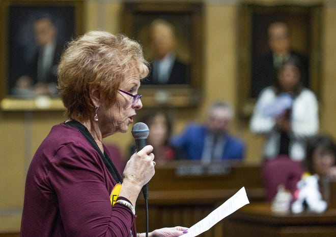 Sen. Sylvia Allen voices her opposition to the ERA during a speech on the floor of the Senate at the Capitol in Phoenix, March 13, 2019.