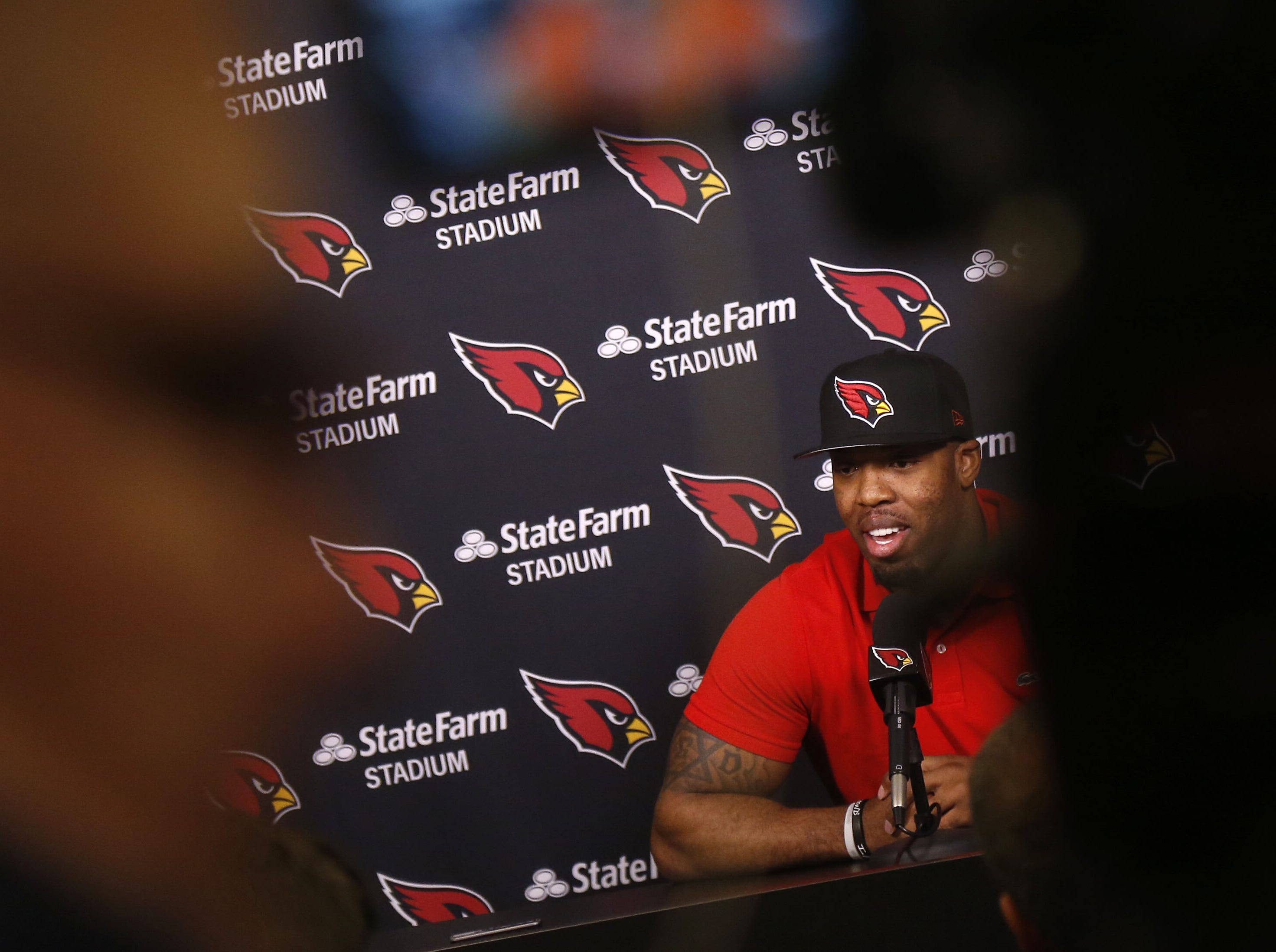 Terrell Suggs speaks with the media during his introductory press conference at the Arizona Cardinals Training Facility in Tempe, Ariz. on March 14, 2019.