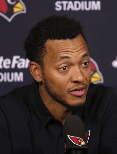 Brett Hundley speaks with the media during his introductory press conference at the Arizona Cardinals Training Facility in Tempe, Ariz. on March 14, 2019.
