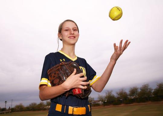 Glendale Preparatory Academy freshman second baseman Gabriela Stallard on Mar. 11, 2019 in Glendale, Ariz.