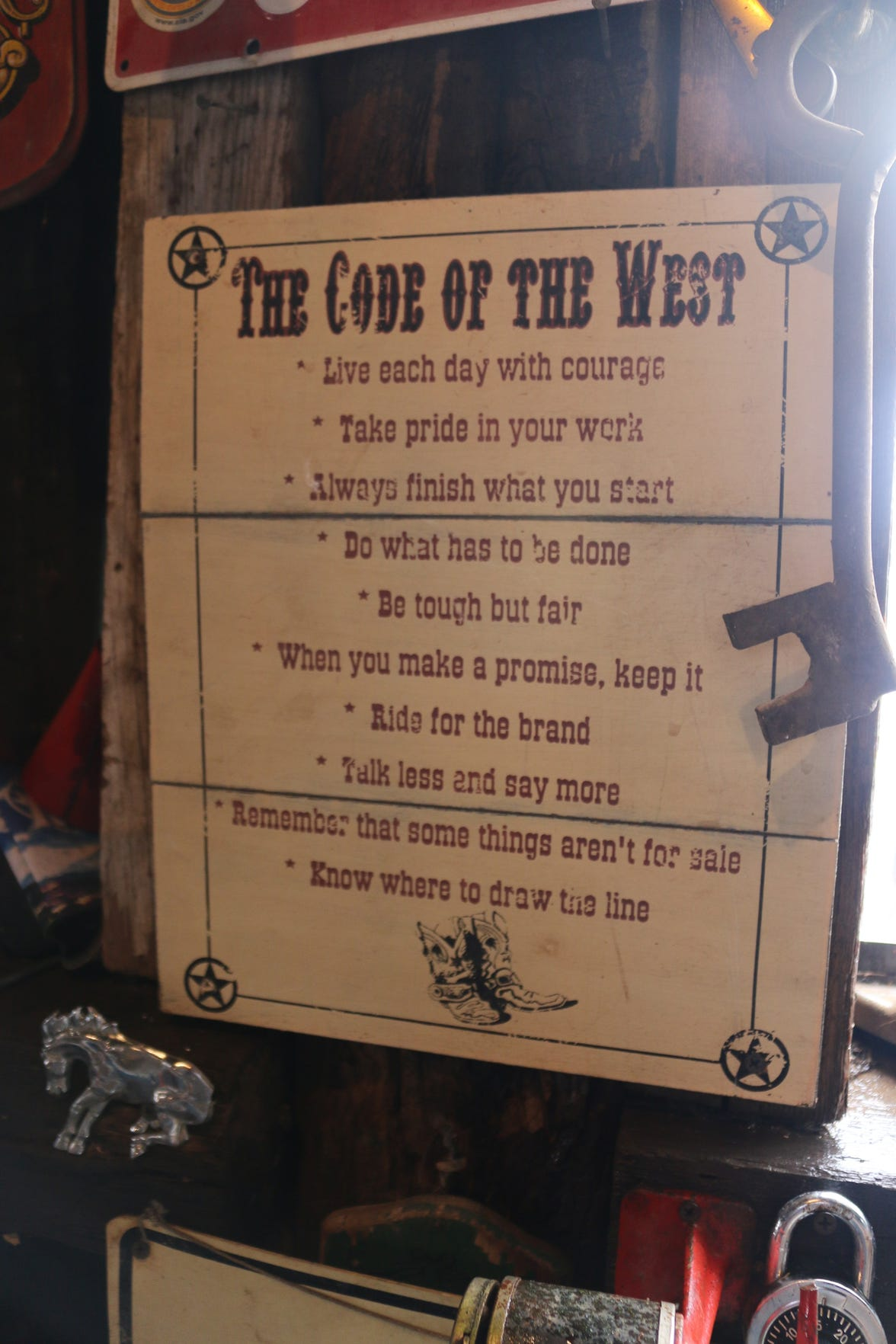 The Code of the West is posted inside the Blue Dog Saloon at Cowtown Keeylocko.