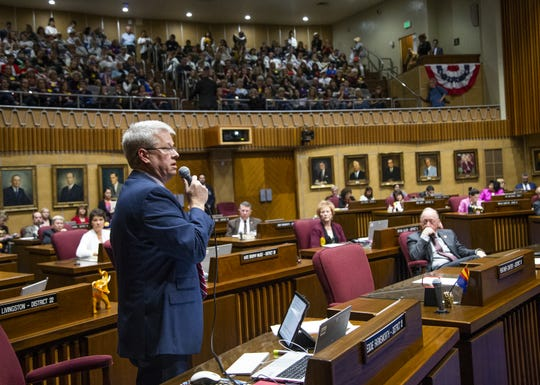 Sen. Eddie Farnsworth voices his opposition to the ERA during a speech on the floor of the Senate at the Capitol in Phoenix, March 13, 2019.