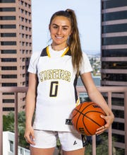 Hanna Cavinder poses for All-Arizona girls basketball team at the Republic Media Building in Phoenix, Monday, March 4, 2019.