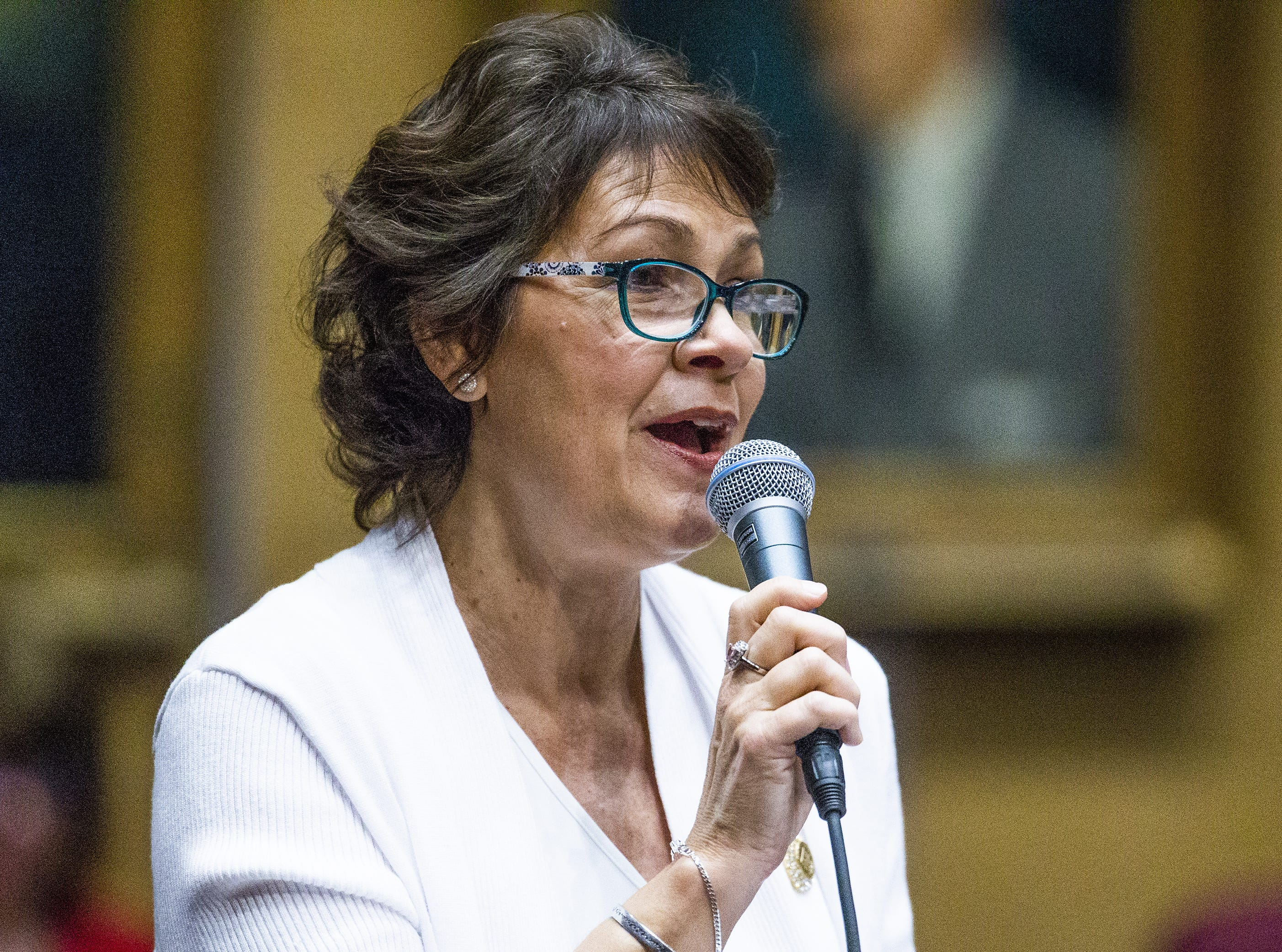 Sen. Victoria Steele voices her support of the ERA during a speech on the floor of the Senate at the Capitol in Phoenix, March 13, 2019.