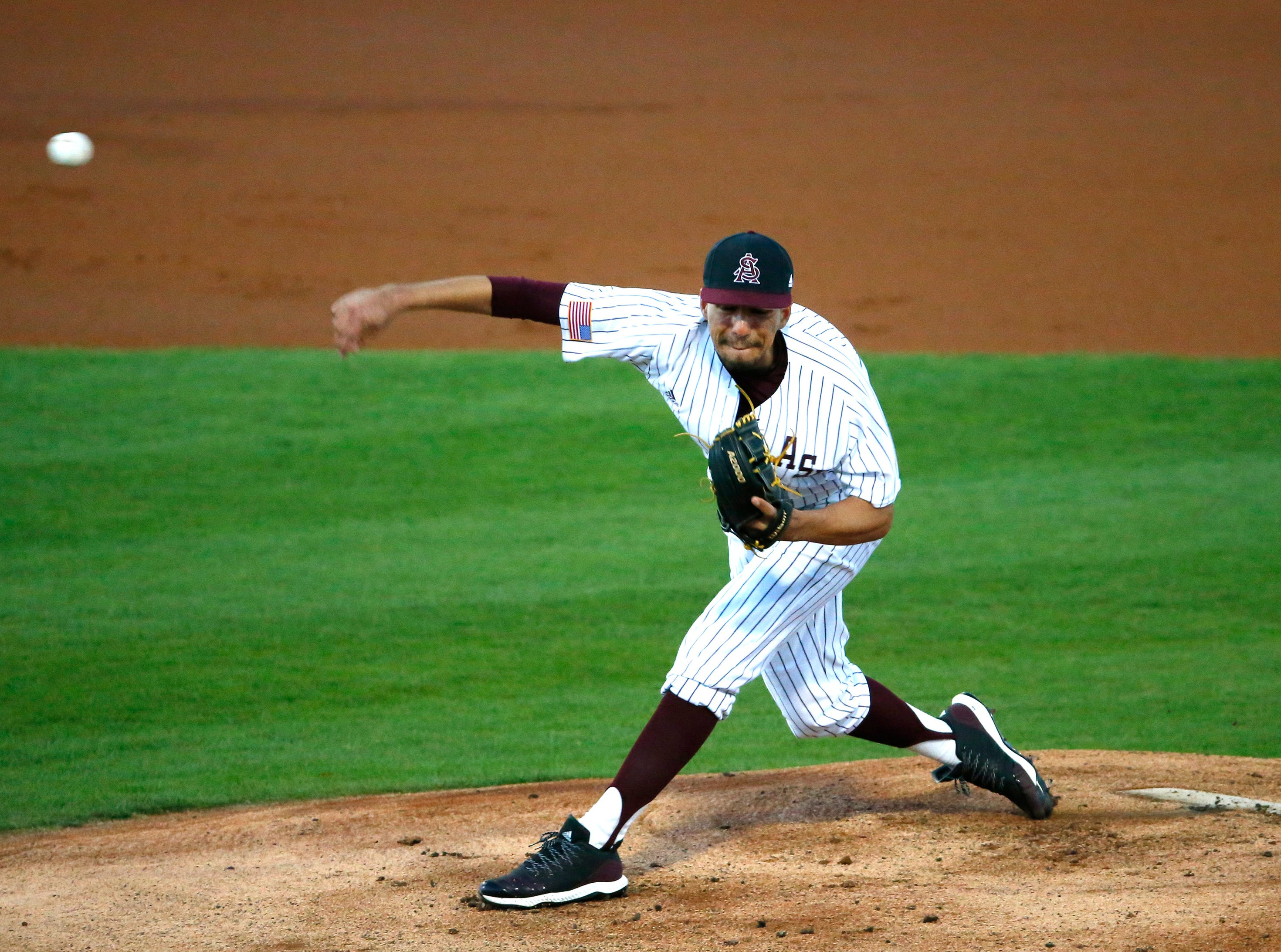 ASU RHP Sam Romero (26) throws during a baseball game against New Mexico at Phoenix Municipal Stadium on March 13, 2019.