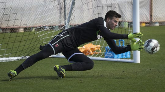 Brandon Keniston works in the goal, March 13, 2019, during Phoenix Rising Soccer practice, 751 N McClintock Drive, Tempe.