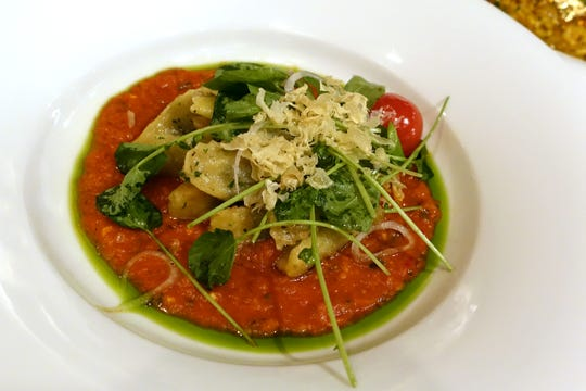 Spinach ricotta agnolotti with watercress, shallots and garlic chips at Casa Terra in Glendale.