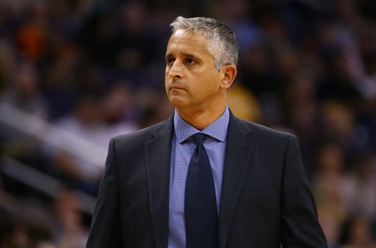 Phoenix Suns head coach Igor Kokoskov against the Utah Jazz in the second half on Mar. 13, 2019 at Talking Stick Resort Arena in Phoenix, Ariz.