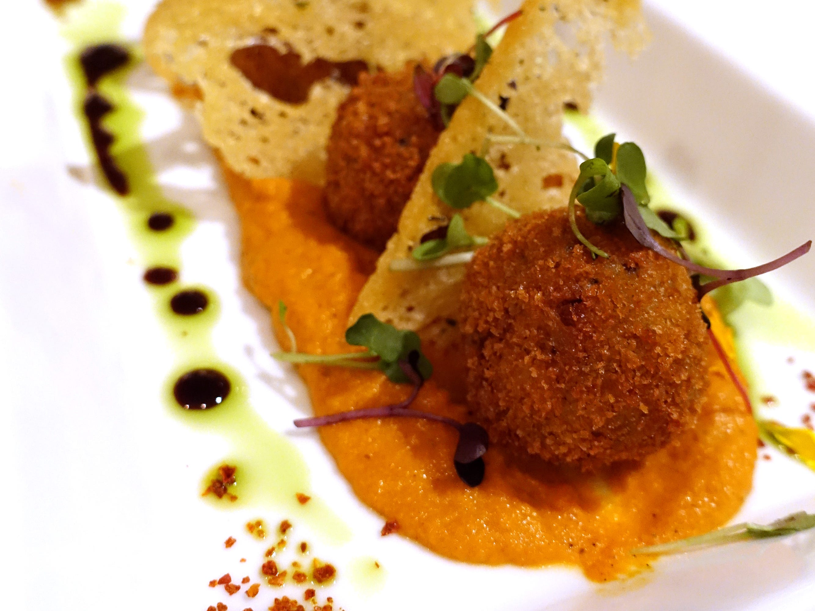 Truffled arancini with mushroom duxelles, ricotta and Romesco at Casa Terra in Glendale.