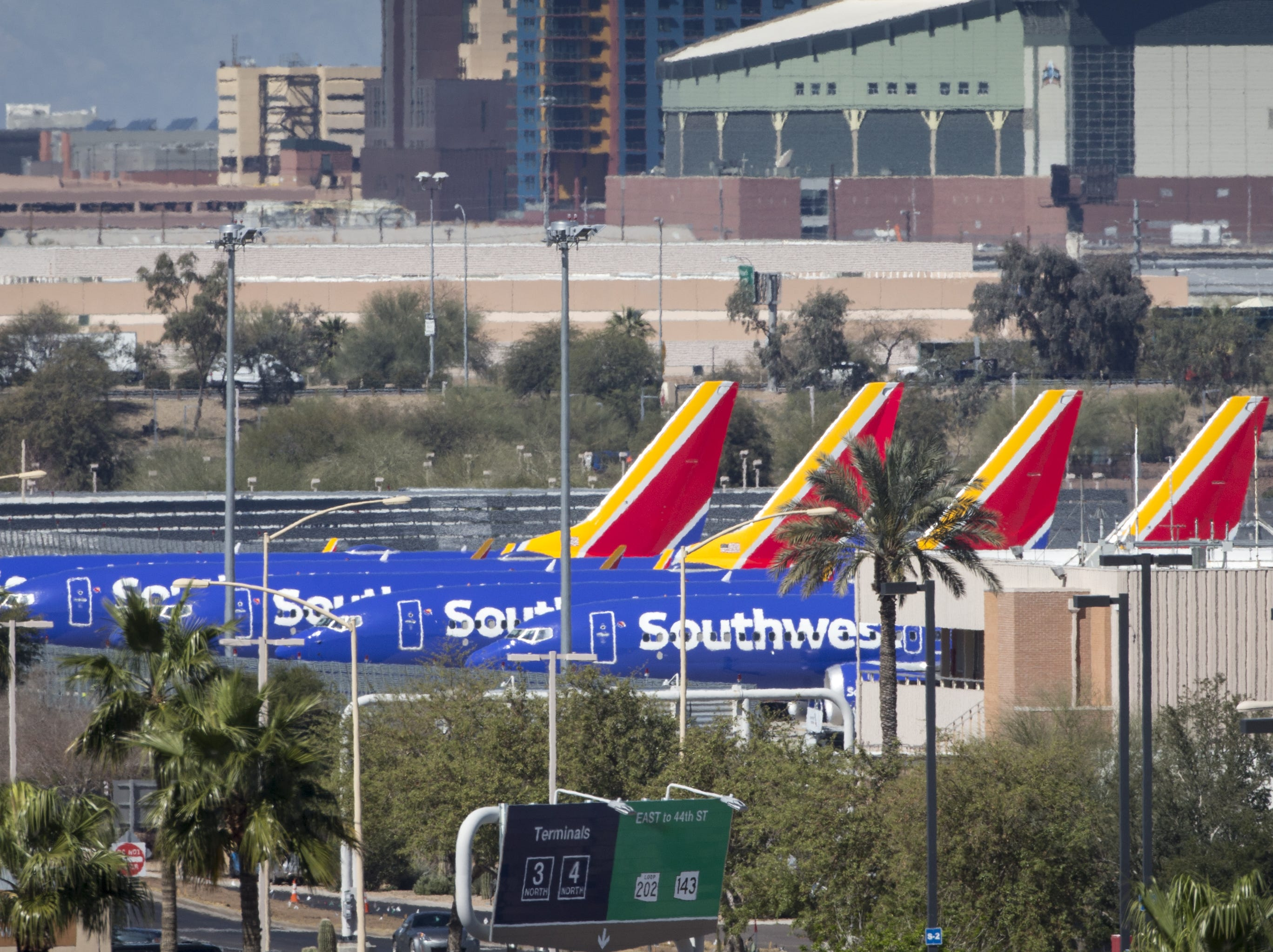 Boeing 737 MAX 8 aircraft on the tarmac March 14, 2019, at Phoenix Sky Harbor International Airport..