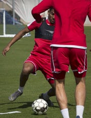 Ilijah Paul runs a drill, March 13, 2019, during Phoenix Rising Soccer practice, 751 N McClintock Drive, Tempe.