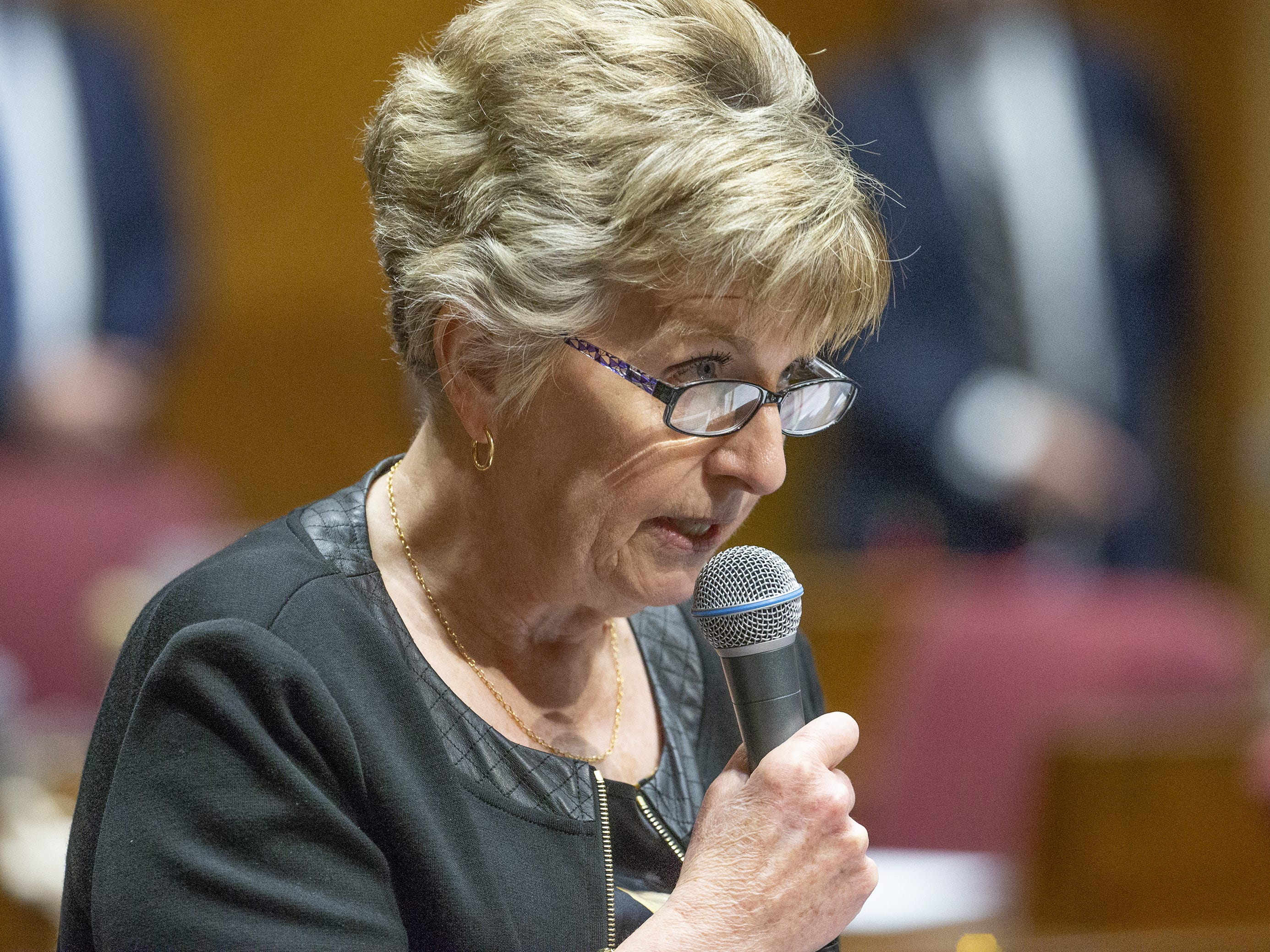 Sen. Kate Brophy McGee speaks on the floor of the Senate at the Capitol in Phoenix, March 13, 2019.