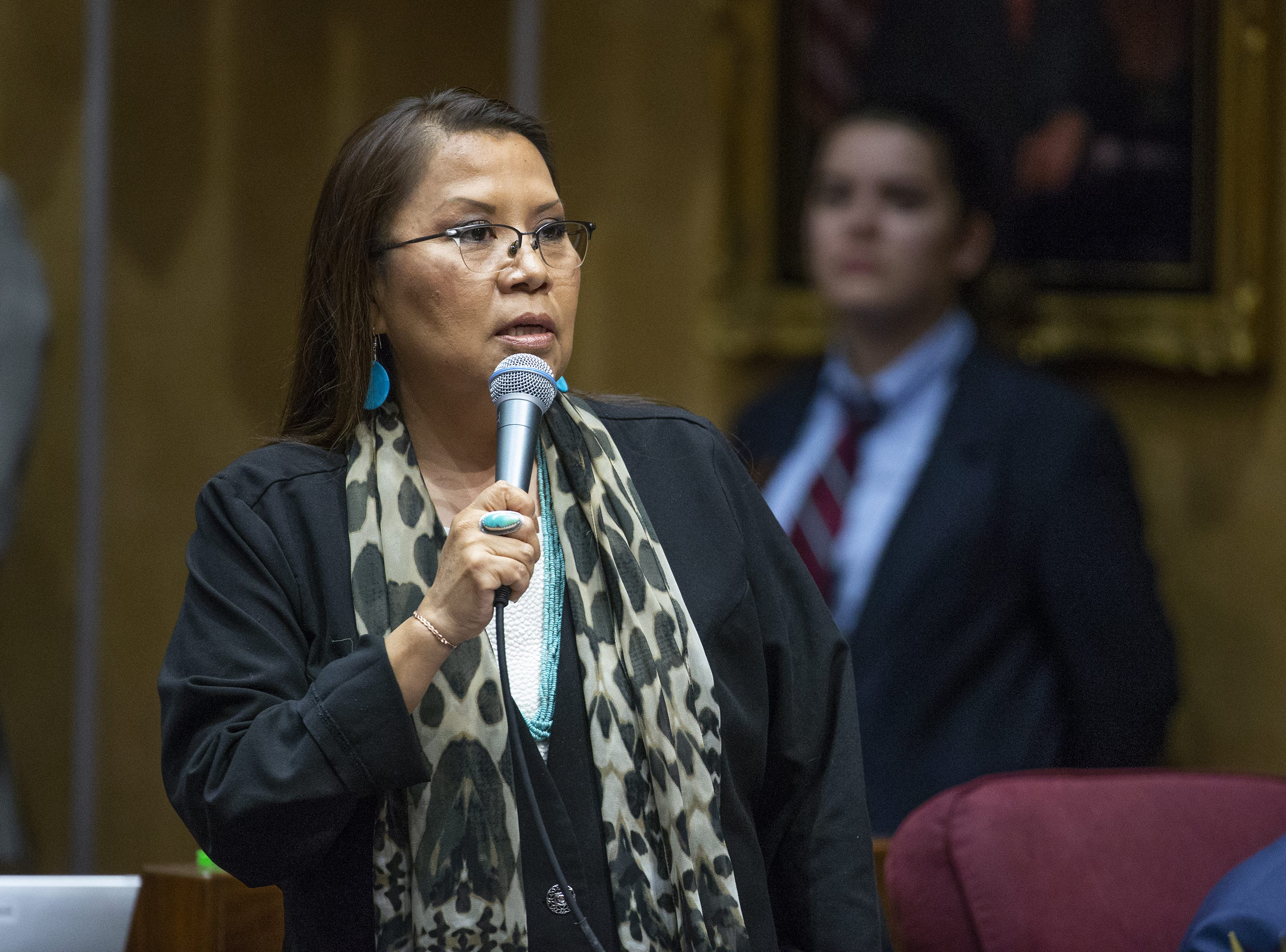 Sen. Jamescita Peshlakai voices her support for the ERA during a speech on the floor of the Senate at the Capitol in Phoenix, March 13, 2019.