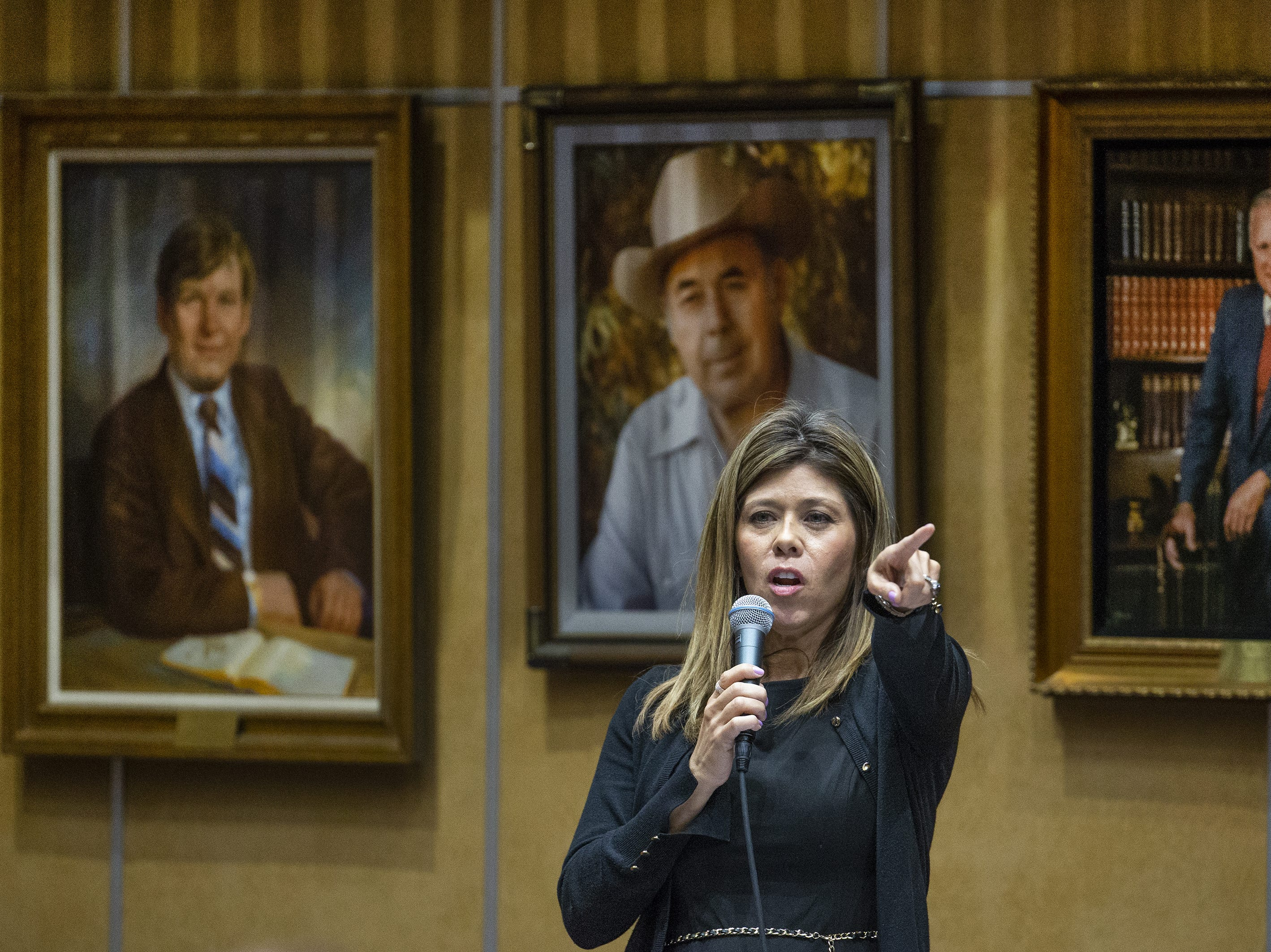 Sen. Rebecca Rios voices her support for the ERA during a speech on the floor of the Senate at the Capitol in Phoenix, March 13, 2019.