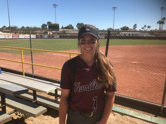 Hamilton sophomore Loganne Stepp after throwing a no-hitter Thursday against the No. 2 ranked high school softball team in the country.