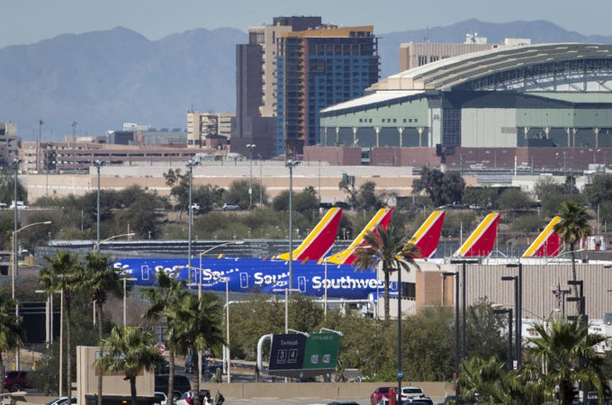 Boeing 737 MAX 8 aircraft on the tarmac March 14, 2019, at Phoenix Sky Harbor International Airport.
