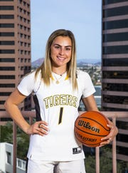 Haley Cavinder poses for All-Arizona team member photo at the Republic Media Building in Phoenix, Monday, March 4, 2019.