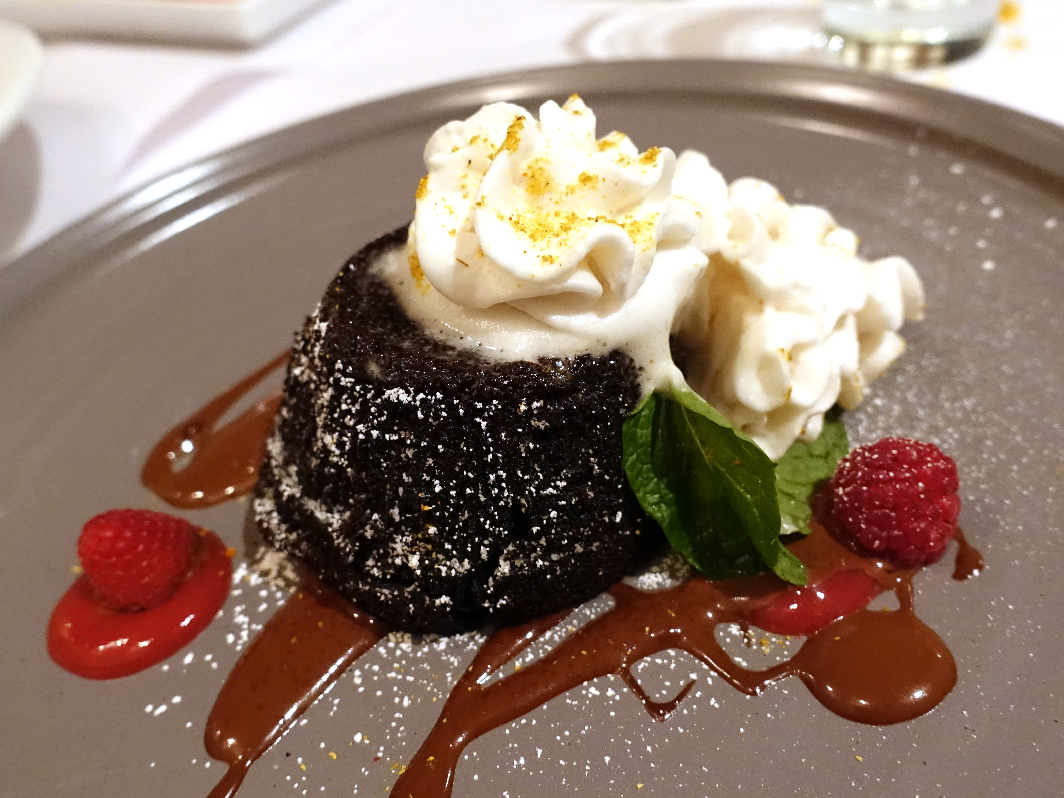 Chocolate torte with chocolate sauce, spiked cream and raspberry coulis at Casa Terra in Glendale.
