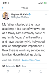 Meghan McCain's now-deleted tweet about legacy.