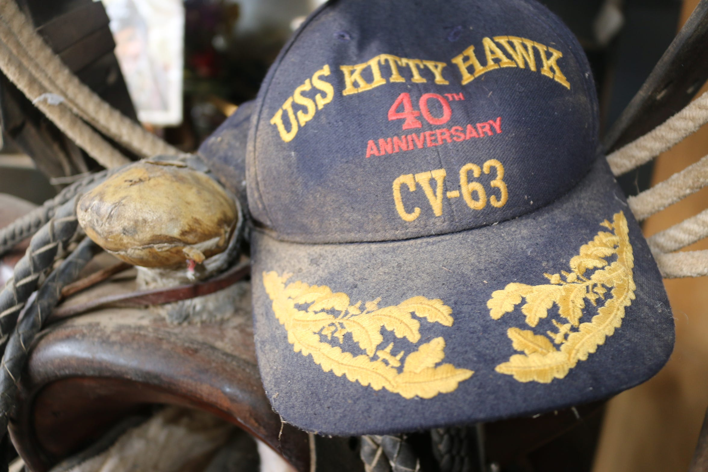 Ed Keeylocko's hat and saddle are pictured inside the Blue Dog Saloon at Cowtown Keeylocko.
