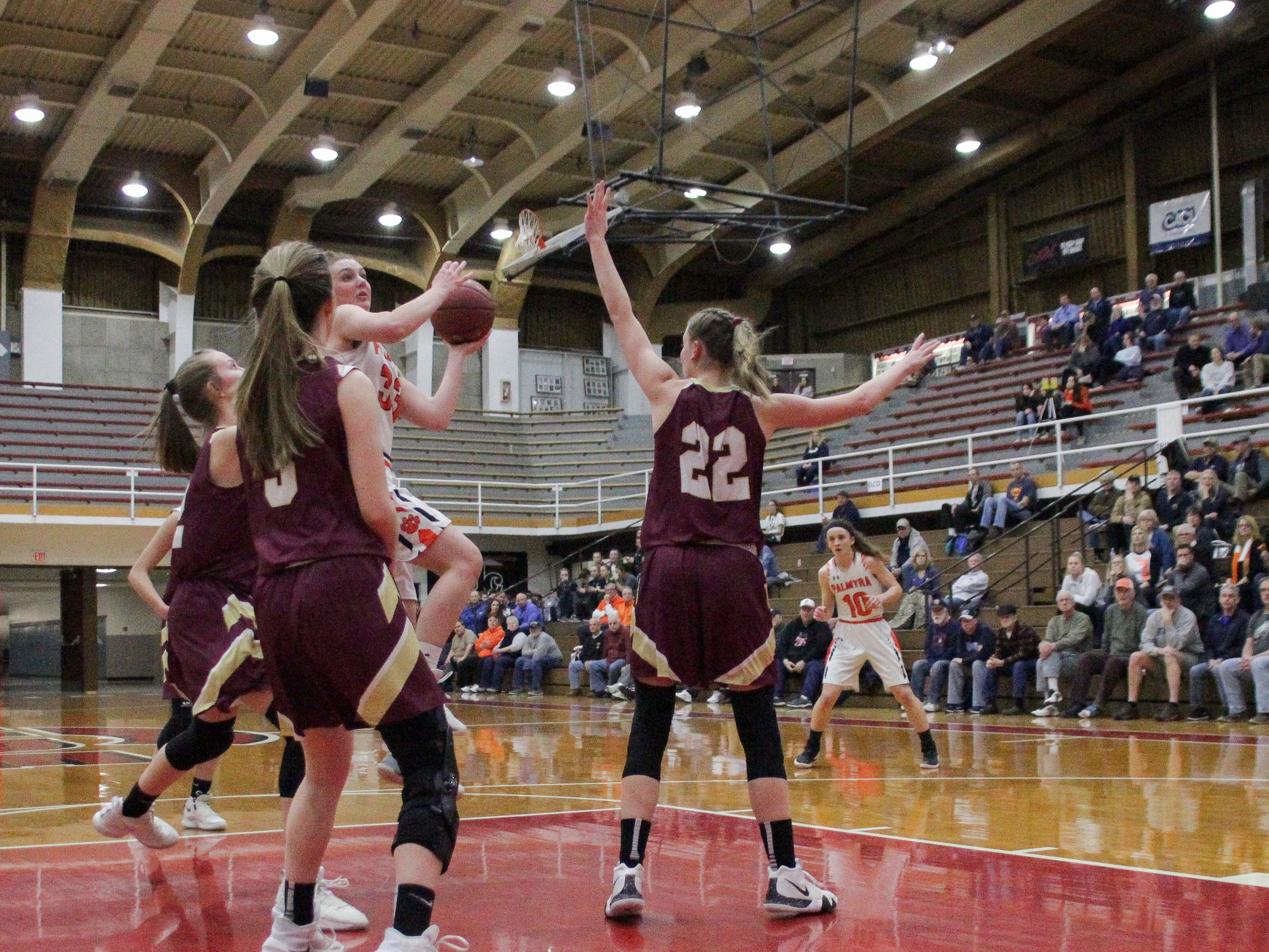 Palmyra advanced to the state quarterfinals with a 42-24 victory against Wyoming Valley West in the second round of the PIAA Class 5A tournament Wednesday, March 13, 2019.