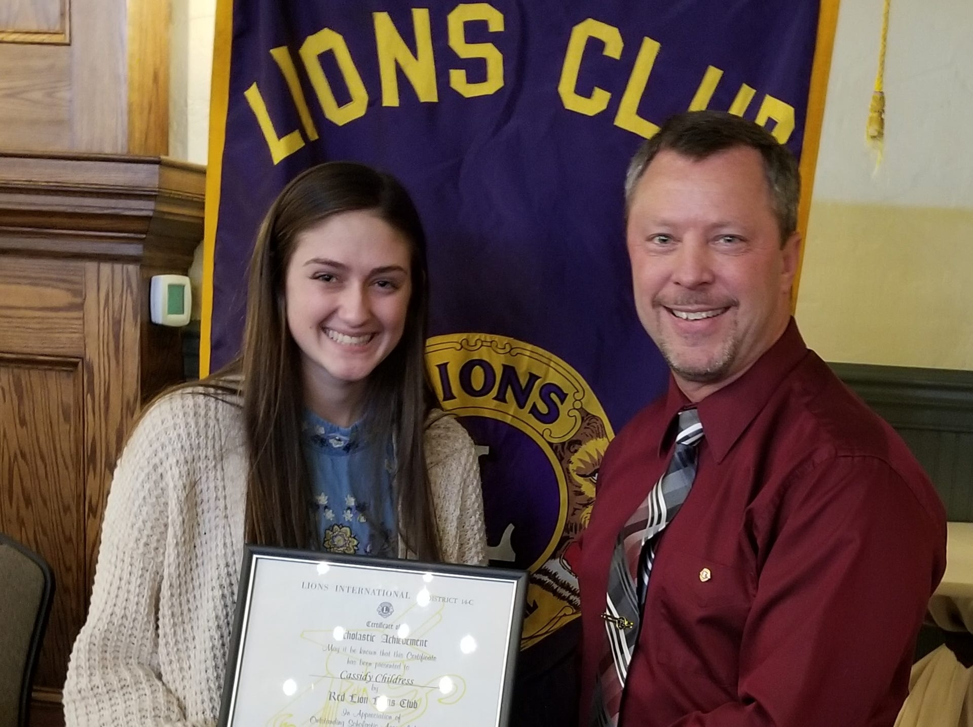 The Red Lion Lions Club is proud to recognize Cassidy Childress who was selected as the Red Lion Area Senior High School Student of the Month for February 2019. Pictured are Cassidy Childress and John H. Fishel, Co-Chairman of the Education Committee. submitted
