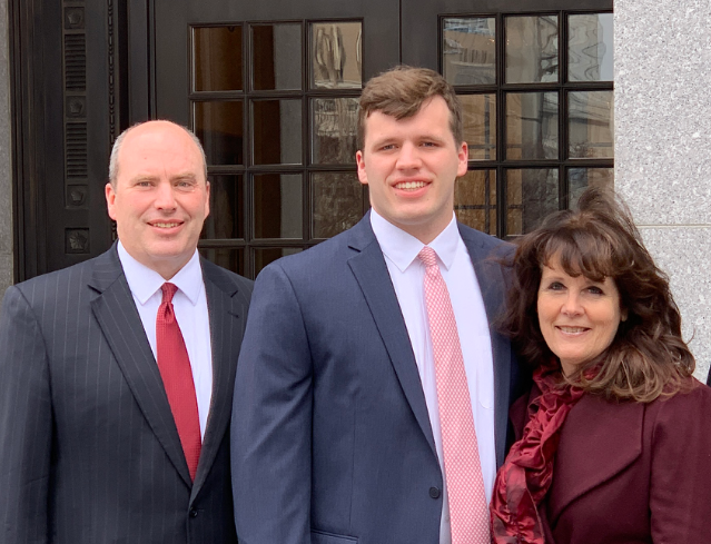 Benjamin Ward, center, and his parents Monte and Jennifer of Seven Valleys, pose before Ben embarked on a two-year mission for The Church of Jesus Christ of Latter-day Saints (Shrewsbury Ward) in the Argentina Córdoba Mission. Ben is a 2018 Dallastown Area High School graduate. submitted