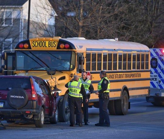 Crews responded to a bus crash in York Township the morning of Thursday, March 14. John A. Pavoncello photo.