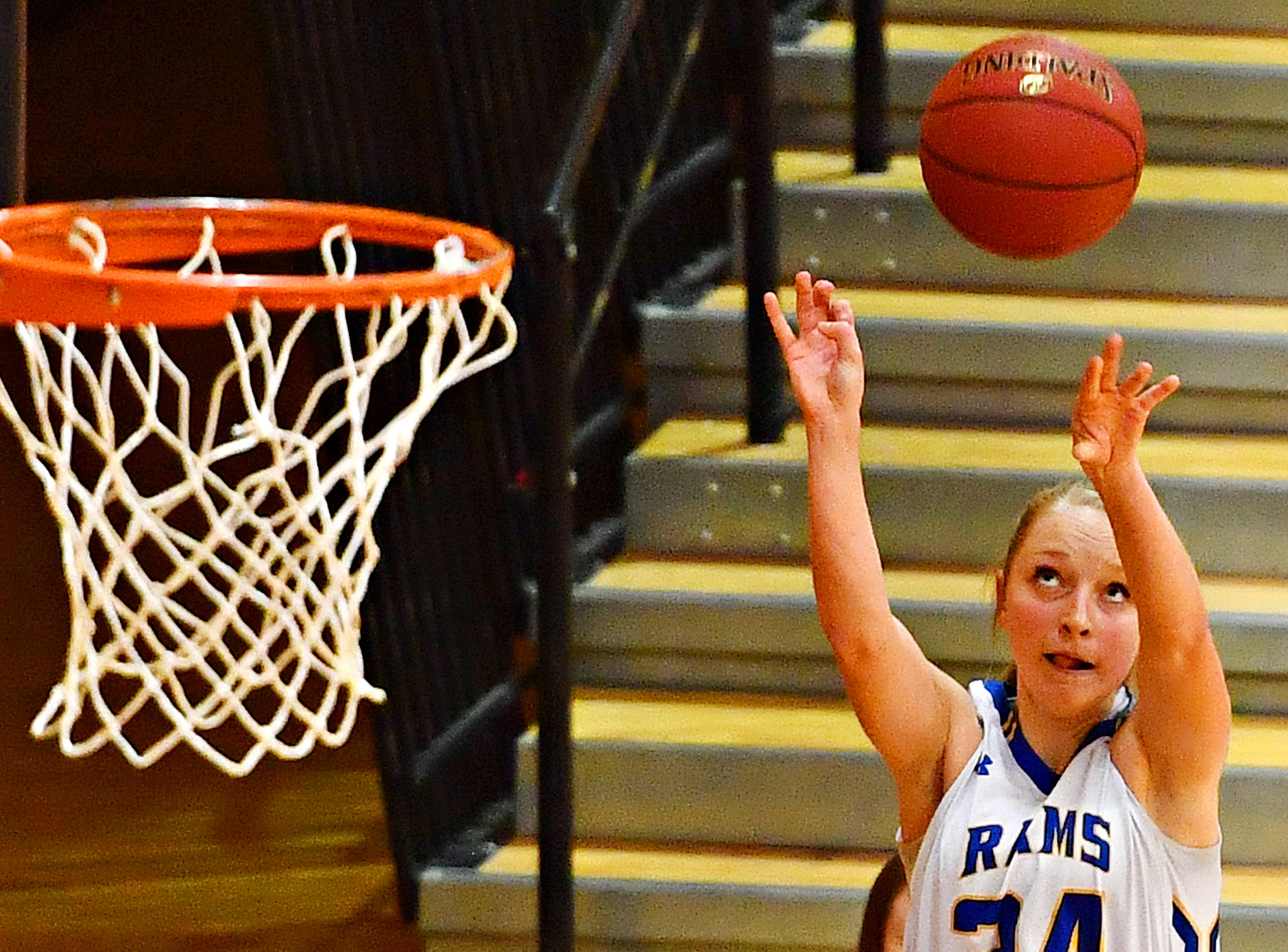 Kennard-Dale's Lexie Kopko aims for the basket during PIAA Class 4-A girl's basketball second round action against Mifflinburg at Milton Hershey High School in Hershey, Wednesday, March 13, 2019. Mifflinburg would win the game 51-45. Dawn J. Sagert photo