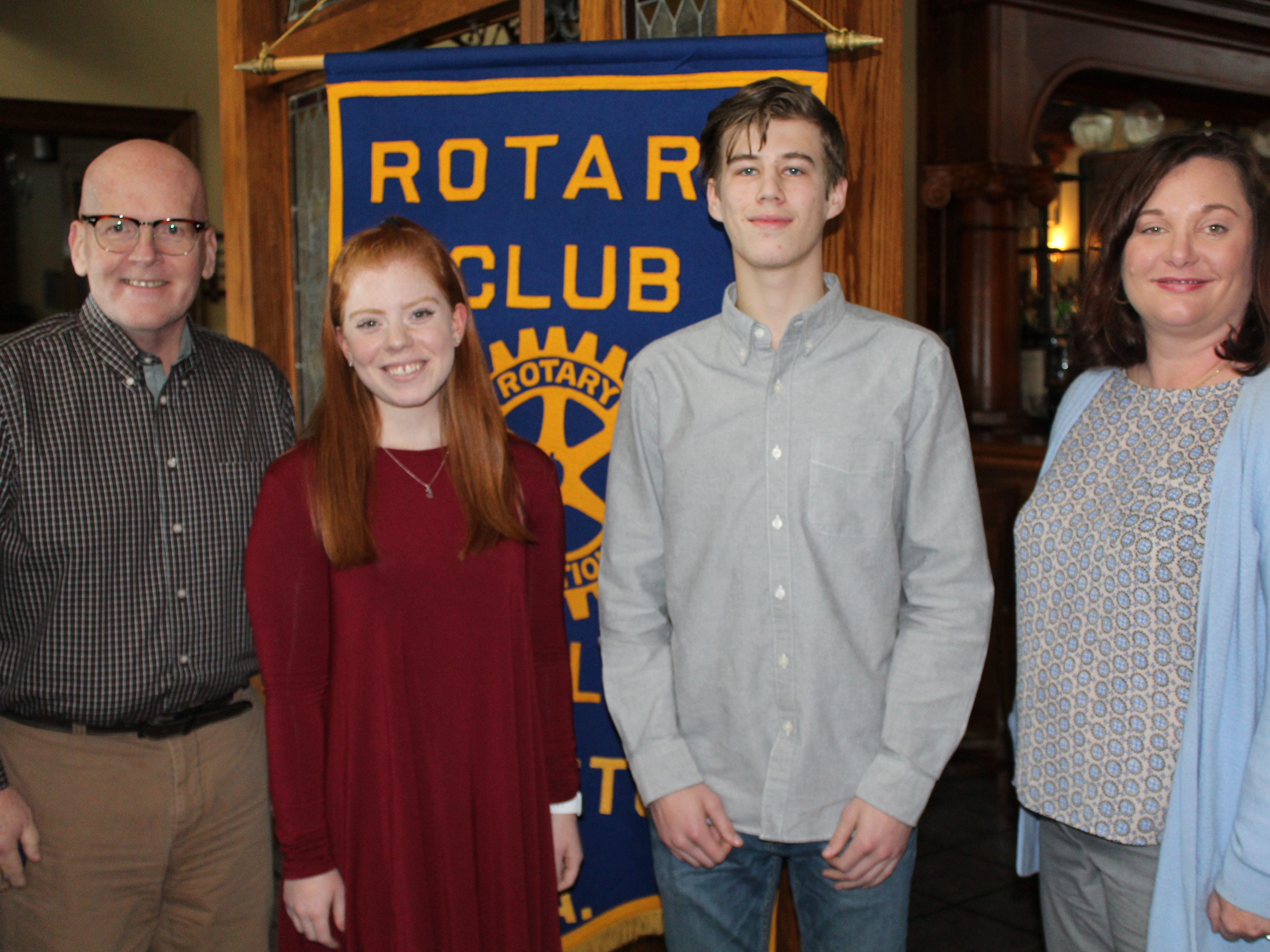 The Rotary Club of Red Lion - Dallastown recognized four students as February Students of the Month at their February 21st meeting. Club members George Flickinger, left, and Carrie Wilburn, right, pose with Red Lion students Dana Cutti and Alex Connors. submitted