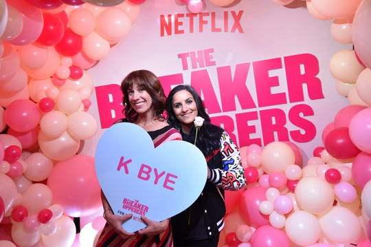 "Jackie van Beek, left, and Madeleine Sami attend the Netflix film ""The Breaker Upperers"" NYC Galentine's Screening on Feb. 13 in New York."